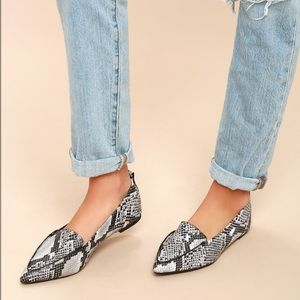 Emmy Natural Snake Pointed Loafers